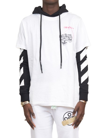 Off White Printed Cotton Hoodie | STYLEBOP | Off white